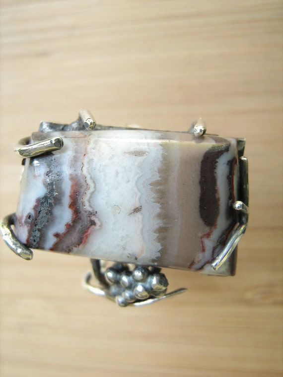 Sterling Silver Taffy Agate Vine ring adjustable