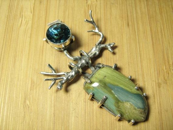 Sterling Silver Blue Obsidian and Swamp Bog Deva