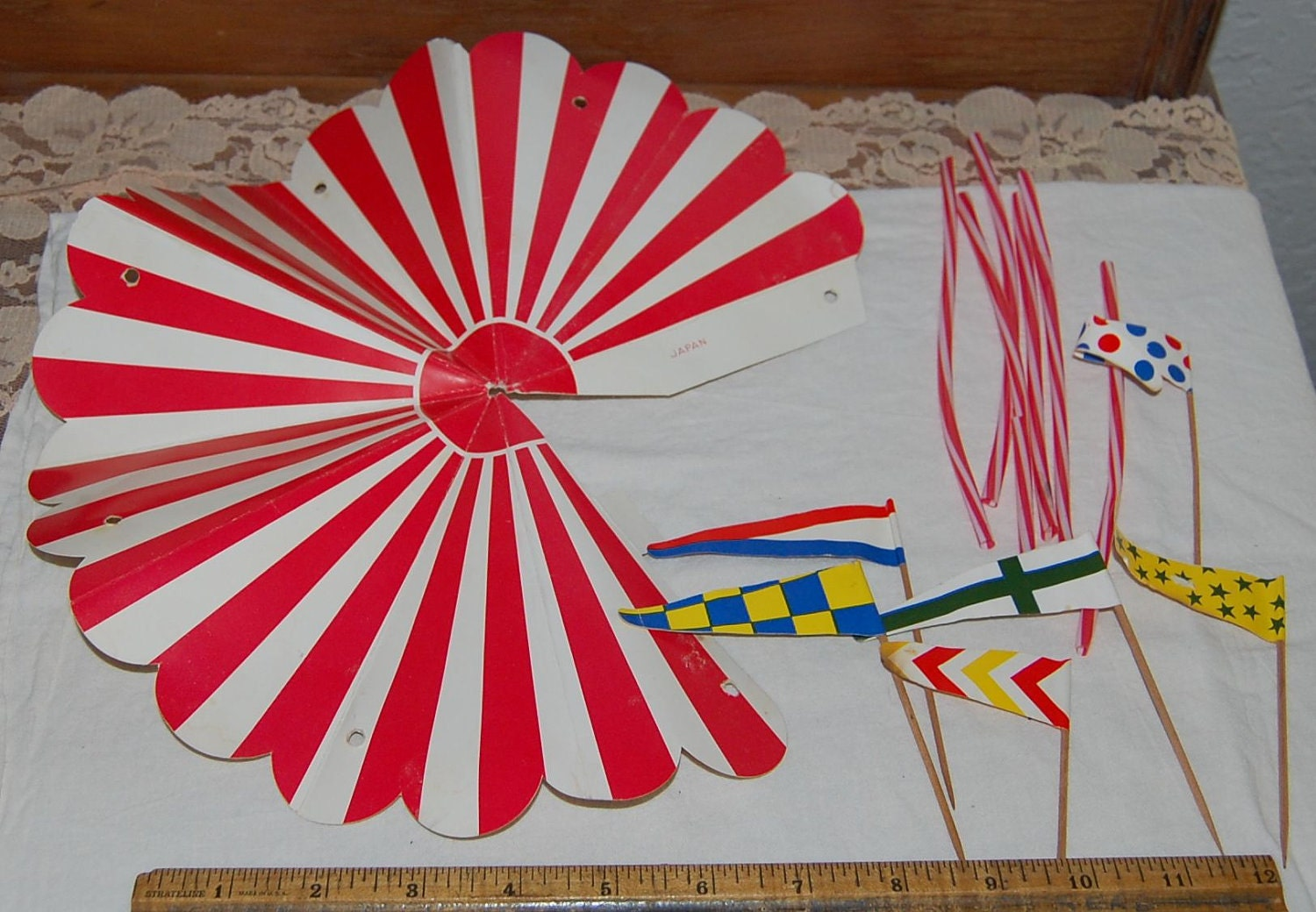 Vintage Circus Paper TENT FLAGS LOT Cake Decorating Topper