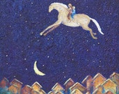 Dreams of Flying horse and kids print 8 x 10
