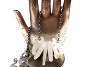 ICE PRINCESS - Genuine Pure Beach Glass Oxidized Sterling Necklace RESERVED