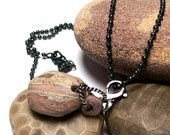 STEAMPUNK PINK - Genuine Beach Stones with Oxidized Sterling Necklace