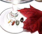 LATE HARVEST - Wine Charms - Genuine Beach Stones - Glass Markers