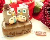 owls in with luggage cake topper---k527