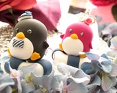 LOVE ANGELS Wedding Cake Topper-love Penguins with life buoy