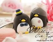 Penguins with swarovski crystal flower wedding cake topper (K423)
