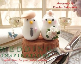 love bird with stump Wedding Cake Topper (K311)