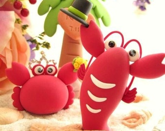 Crab and lobster wedding cake topper---k627