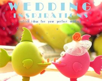 love  piranhas,kissing fish wedding cake topper