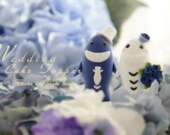 LOVE ANGELS Wedding Cake Topper-love sharks with sweet heart base---k614