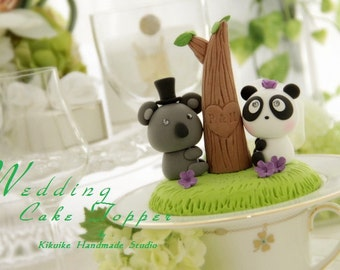 panda and koala  Wedding Cake Topper-love Koala and Panda  cake topper---k941