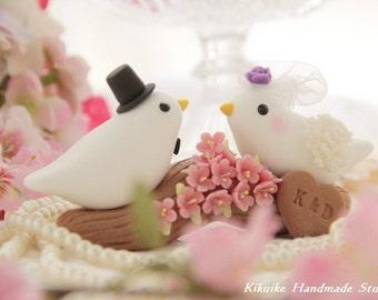birds with sakura ,cherry blossoms branch Wedding Cake Topper (K302)