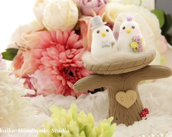 love bird with  nest and tree Wedding Cake Topper (K362)