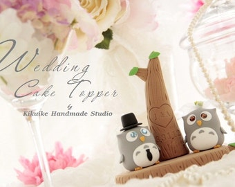 owls with with tree Wedding Cake Topper---k510