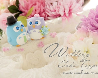 owls  with tree and flowers cake topper---k528