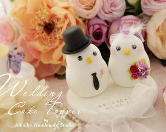 love birds bride and groom Wedding Cake Topper (K352)
