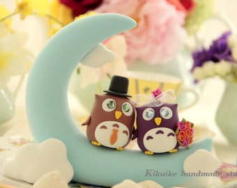 Owls with Moon wedding cake topper---k529
