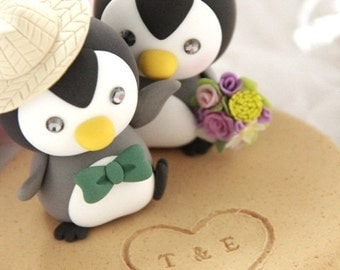 penguins wedding cake topper (K440)