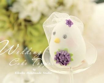 birds bride and groom wedding cake topper (K327)