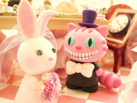 Wonderland  cheshire cat and rabbit bride and groom Casual Collection---k776