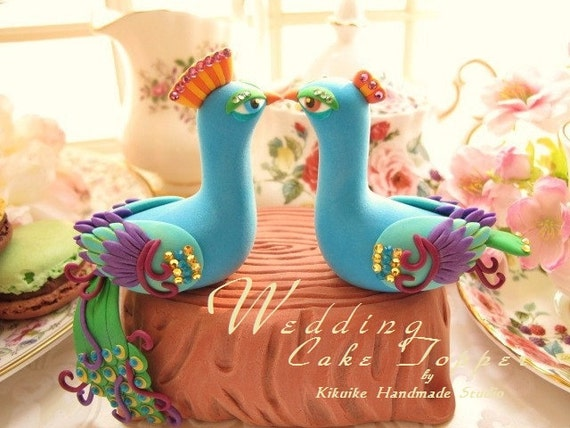 peacock with stump wedding cake topper  (K336)