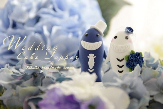 LOVE ANGELS Wedding Cake Topper-love sharks with sweet heart base---k614