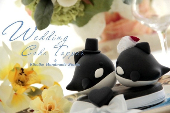 orca  whale  Wedding Cake Topper---k606