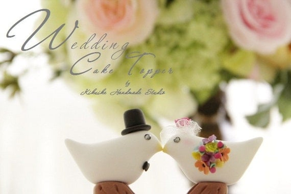 Love birds with branch Wedding Cake Topper (K342)