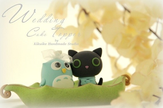 owl  and cat  cake topper---k531