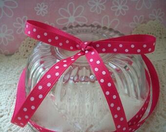 Shocking Pink Grosgrain Polka Dots