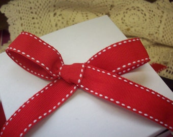 """Red and White Side Stitched Grosgrain Ribbon 5/8"""" Wide"""