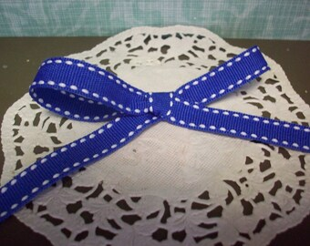 "Royal Blue and White Side Stitched Grosgrain Ribbon 3/8"" Wide"