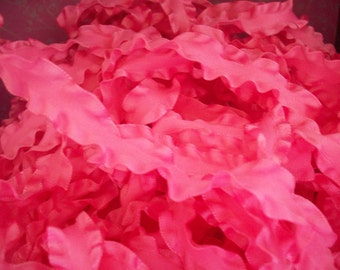 Hot Hot Pink Double Ruffled Ribbon 1.5 inches wide