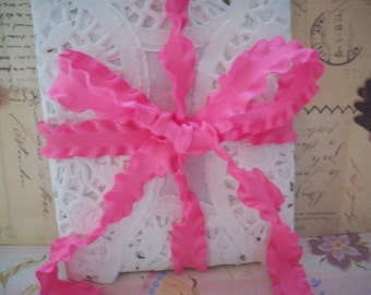 "Summertime Raspberry Double Ruffle Ribbon 5/8"" 2 Yards"