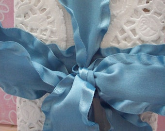 "Williamsburg Blue 1.5"" Wide Double Ruffled Ribbon 1 yard"