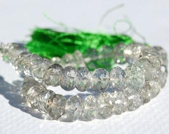 Large Light Green Amethyst Quartz Faceted Rondelles, 7 mm, Half Strand, 21 Beads