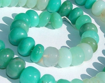 Large, Fresh CHRYSOPRASE Smooth Rondelles, 8mm, Minty Green, Excellent Quality, 8 Beads