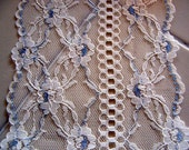 5 inch Wide Off White and Blue Lace  - Sold by the Yard