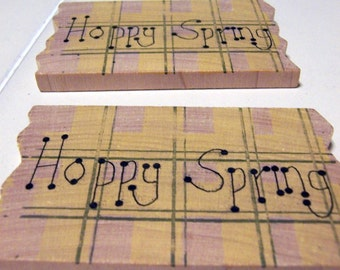 Wood Craft Supplies 2 pieces - Hoppy Spring Placques