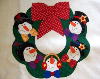 Wreath Panel - Fabric Snowman Wreath Panel  14 x 14