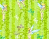 Disney Tinker Bell Butterfly Flannel Fabric By The Yard FBTY