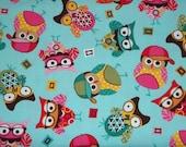 Cute Little Owl Flannel Fabric Last Piece 1 yard 24 Inches