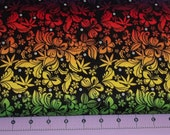 Rainbow Butterfly Damask  Fabric By the Yard