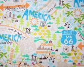 Retro Route 66 Fabric By the Yard