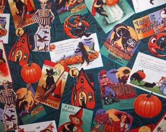 Adorable Vintage Halloween Postcards Fabric By The Half Yard