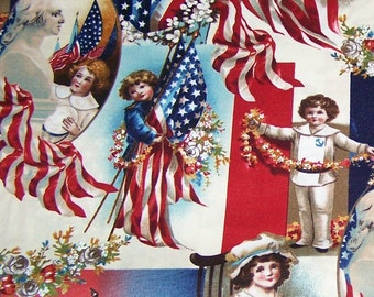 Victorian Patriotic Kids Fabric By The Yard