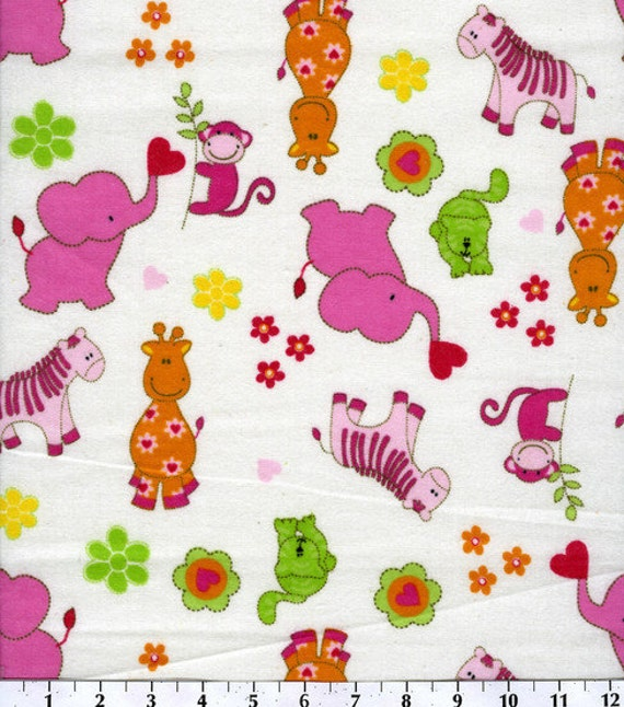 Jungle baby flannel fabric by the yard fbty for Children s flannel fabric by the yard
