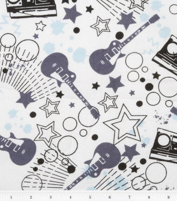 Rock Stars and Guitars Flannel Fabric Yard