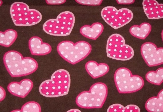Pink Polka Dot Hearts on Brown Flannel Fabric By The Yard FBTY