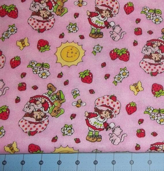 "Strawberry Shortcake Vintage Style Fabric Remnant 30"""